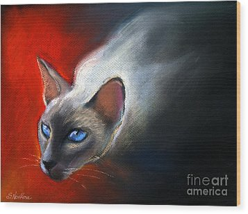 Siamese Cat 7 Painting Wood Print by Svetlana Novikova