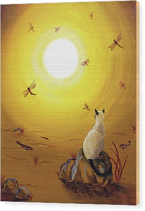 Siamese Cat With Red Dragonflies Wood Print by Laura Iverson