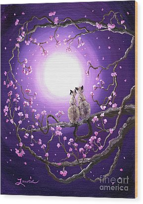 Siamese Cats In Pink Blossoms Wood Print by Laura Iverson