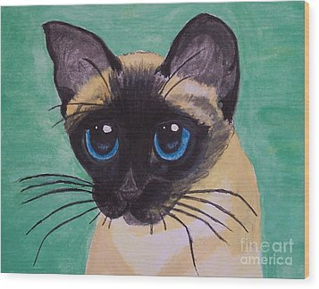 Wood Print featuring the painting Siamese by Leslie Allen