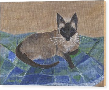 Wood Print featuring the painting Siamese Nap by Jamie Frier