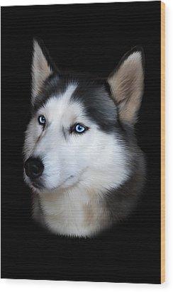 Siberian Husky Dog Wood Print by Julie L Hoddinott