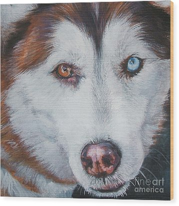 Siberian Husky Red Wood Print by Lee Ann Shepard