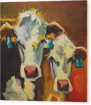 Sibling Cows Wood Print
