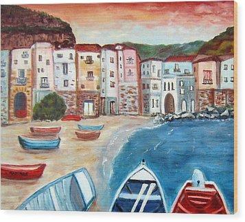 Sicilian Fishing Village Wood Print by Lia  Marsman