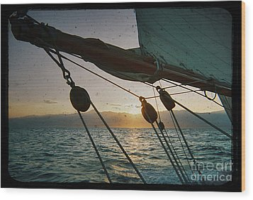 Sicily Sunset Sailing Solwaymaid Wood Print by Dustin K Ryan
