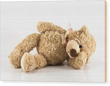 Sick Teddy Bear Wood Print by Blink Images