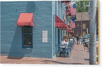 Wood Print featuring the photograph Sidewalk Cafe Annapolis by Charles Kraus
