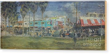 Wood Print featuring the photograph Sidewalk Cafe Venice Ca Panorama  by David Zanzinger