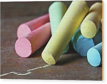 Sidewalk Chalk I Wood Print by Tom Mc Nemar