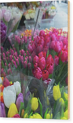 Wood Print featuring the photograph Sidewalk Flowers by Lora Lee Chapman
