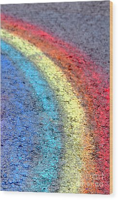 Sidewalk Rainbow  Wood Print by Olivier Le Queinec