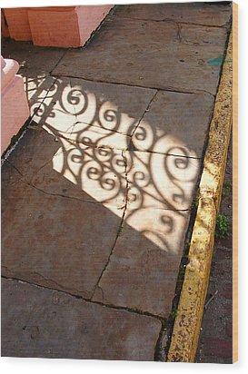 Sidewalk Shadow Wood Print