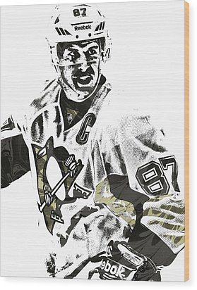 Sidney Crosby Pittsburgh Penguins Pixel Art 4 Wood Print by Joe Hamilton