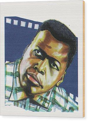 Sidney Poitier Wood Print by Emmanuel Baliyanga