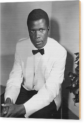 Sidney Poitier, On The Set For The Film Wood Print by Everett