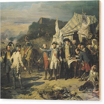 Siege Of Yorktown Wood Print by Louis Charles Auguste  Couder