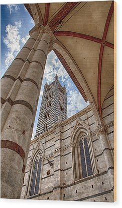 Siena Cathedral Tower Framed By Arch Wood Print