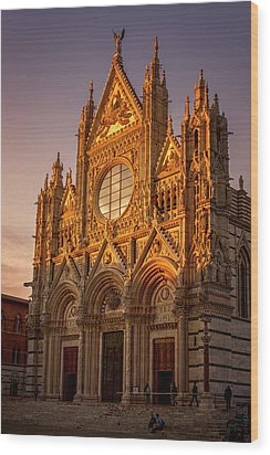 Wood Print featuring the photograph Siena Italy Cathedral Sunset by Joan Carroll