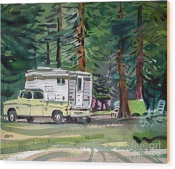 Sierra Campsite Wood Print by Donald Maier