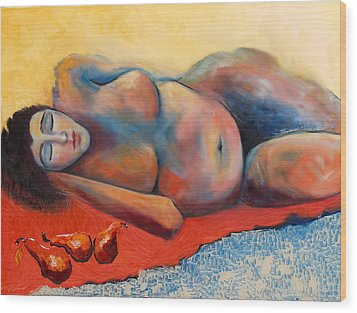 Siesta Desnuda Wood Print by Niki Sands