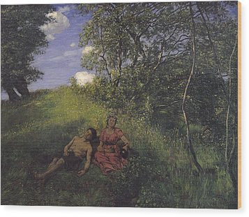 Siesta Wood Print by Hans Thoma