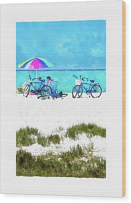 Siesta Key Beach Bikes Wood Print