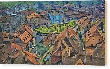 Sighisoara From Above Wood Print by Jeff Kolker