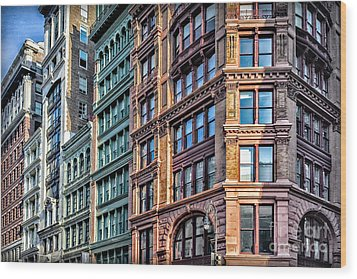 Wood Print featuring the photograph Sights In New York City - Colorful Buildings by Walt Foegelle