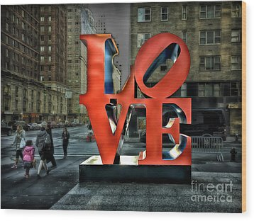 Wood Print featuring the photograph Sights In New York City - Love Statue by Walt Foegelle