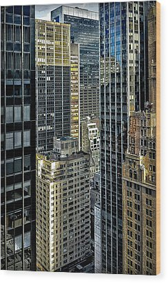 Wood Print featuring the photograph Sights In New York City - Skyscrapers Shot From Skyscraper by Walt Foegelle