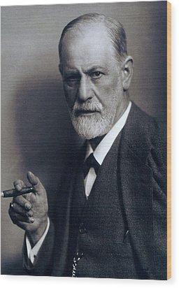 Sigmund Freud 1856-1939 Smoking Cigar Wood Print by Everett