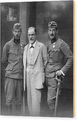 Sigmund Freud 1856-1939, With His Sons Wood Print by Everett