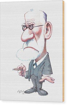Sigmund Freud, Caricature Wood Print by Gary Brown