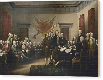 Signing The Declaration Of Independence Wood Print by War Is Hell Store