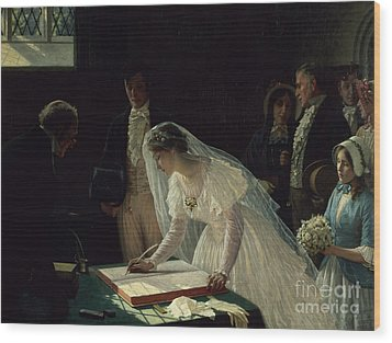 Signing The Register Wood Print by Edmund Blair Leighton
