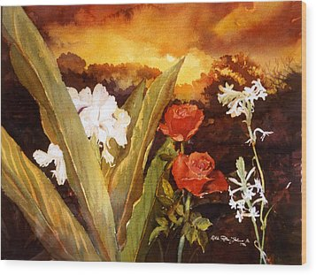 Silence-flowers Sleeping Wood Print by Estela Robles