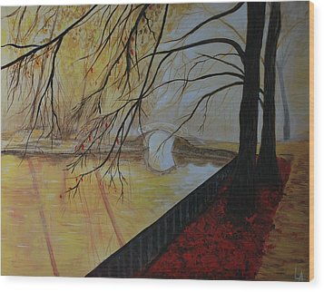 Wood Print featuring the painting Silence by Leslie Allen