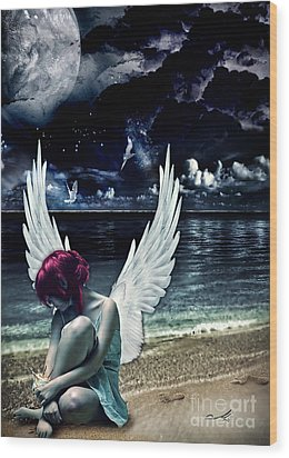 Silence Of An Angel Wood Print by Mo T