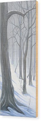 Wood Print featuring the painting Silent Forest  by Margit Sampogna