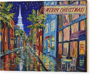 Silent Night Christmas Card Wood Print by Dorothy Allston Rogers