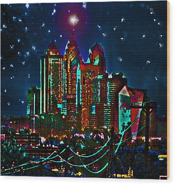 Silent Night Philly Night Wood Print by Jonathan Shaps