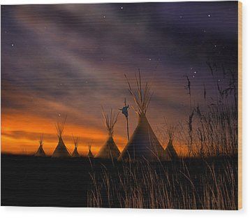 Silent Teepees Wood Print by Paul Sachtleben