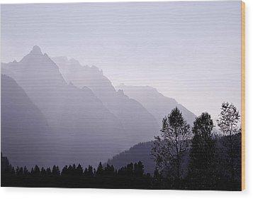 Silhouette Austria Europe Wood Print by Sabine Jacobs