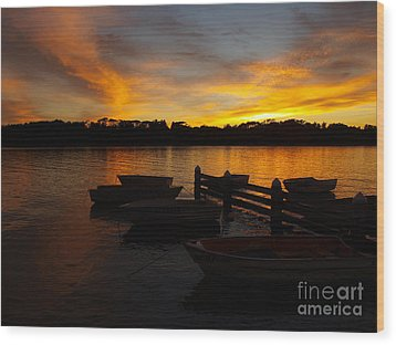 Silhouette Boats Wood Print