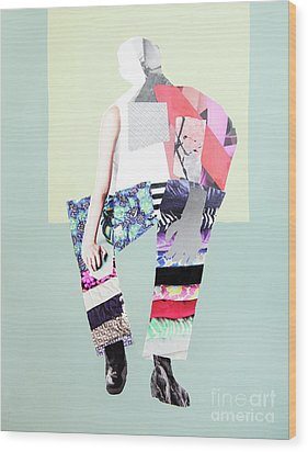 Wood Print featuring the mixed media Silhouette by Elena Nosyreva