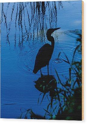 Silhouette In Blue Wood Print