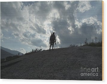 Silhouette Of A Hiker On Middle Sugarloaf Mountain - White Mountains New Hampshire Usa Wood Print by Erin Paul Donovan