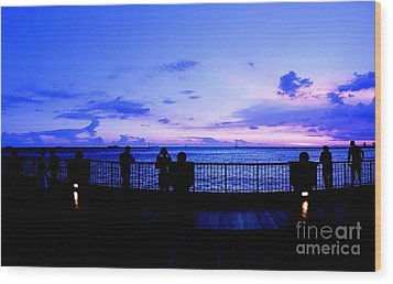 Wood Print featuring the photograph Silhouette Of People At Sunset by Yali Shi