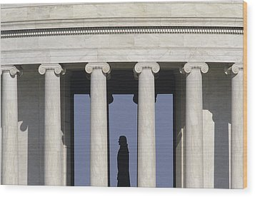 Silhouette Of The Jefferson Memorial Wood Print by Kenneth Garrett